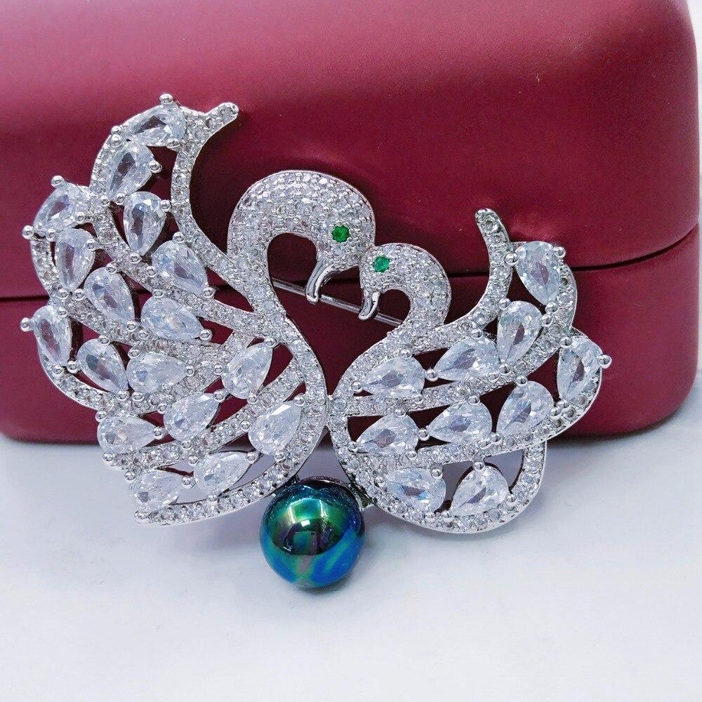 ダブル白鳥ブローチヨーロッパファッション高級czジルコン白鳥のブローチピンの宝石用女性女の子ウェディングドレス衣服アクセサリー