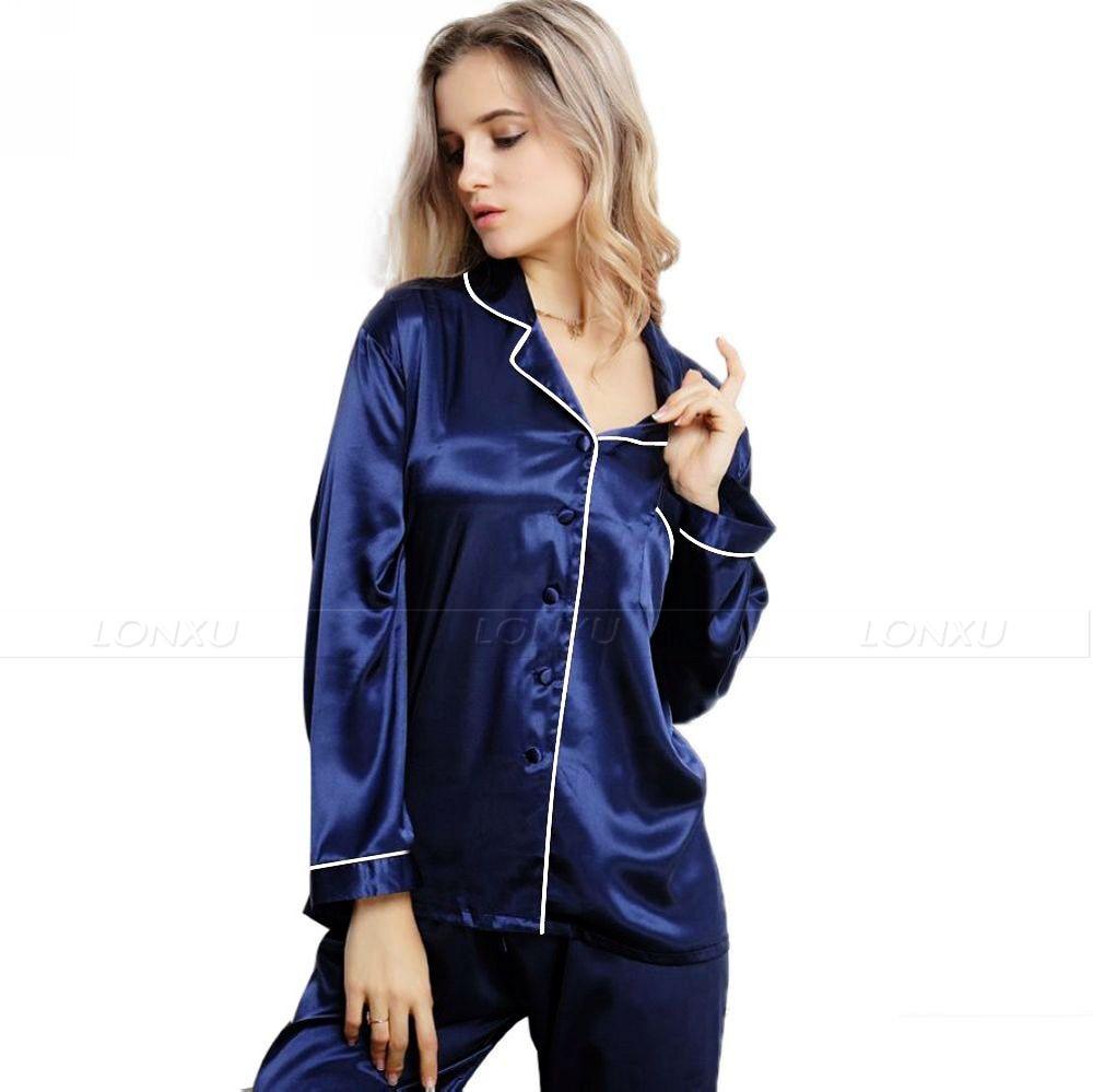 Image 3 - Womens 100% Silk  Pajamas Set  Pajama Pyjamas  Set  Sleepwear Loungewear  XS  S  M  L  XL-in Pajama Sets from Underwear & Sleepwears