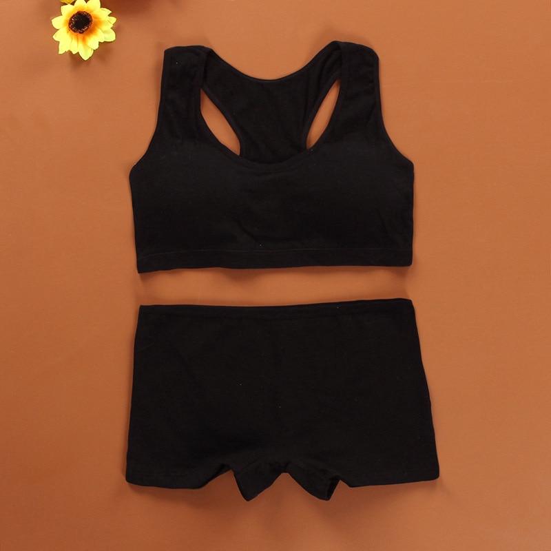 Cotton Bra Set For Teens Training Bras Girls Underwear Set For Teenagers Puberty Girls Underwear Wireless Bra+Underpants Solid