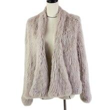 Harppihop Fur 2017 new  Knitted Rabbit Jackets Cardigan Outwear Women Winter long rabbit fur fashion coat