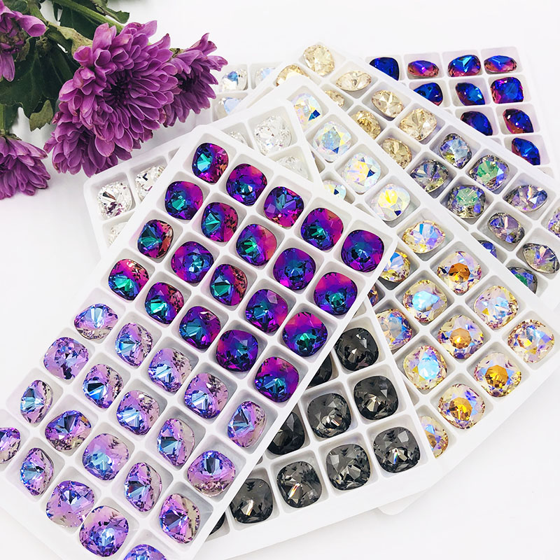 New Arrival Pointback Glue On Rhinestones High Quality Glass Crystal Fat Square Shape Rhinestones Diy Clothing Accessories