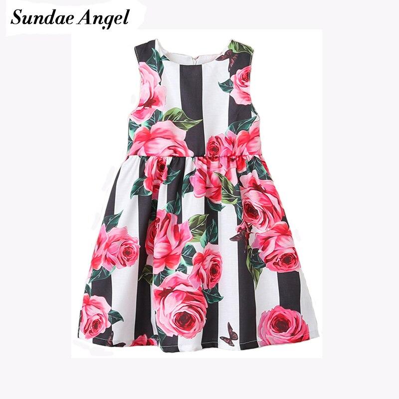 Sundae Angel Baby girl summer dress Round Neck Sleeveless Printing Flowers Pattern Toddler girl summer dress Children's Clothes женская куртка every girl is an angel xz123