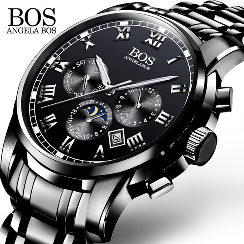 ANGELA BOS Small Dial Work Waterproof Luminous Wristwatch Men Watches Top Brand Luxury Famous Men's Watches For Men Quartz watch angela bos sub dial work waterproof luminous mens watches top brand luxury 2016 men s watches quartz watch wrist watches for men