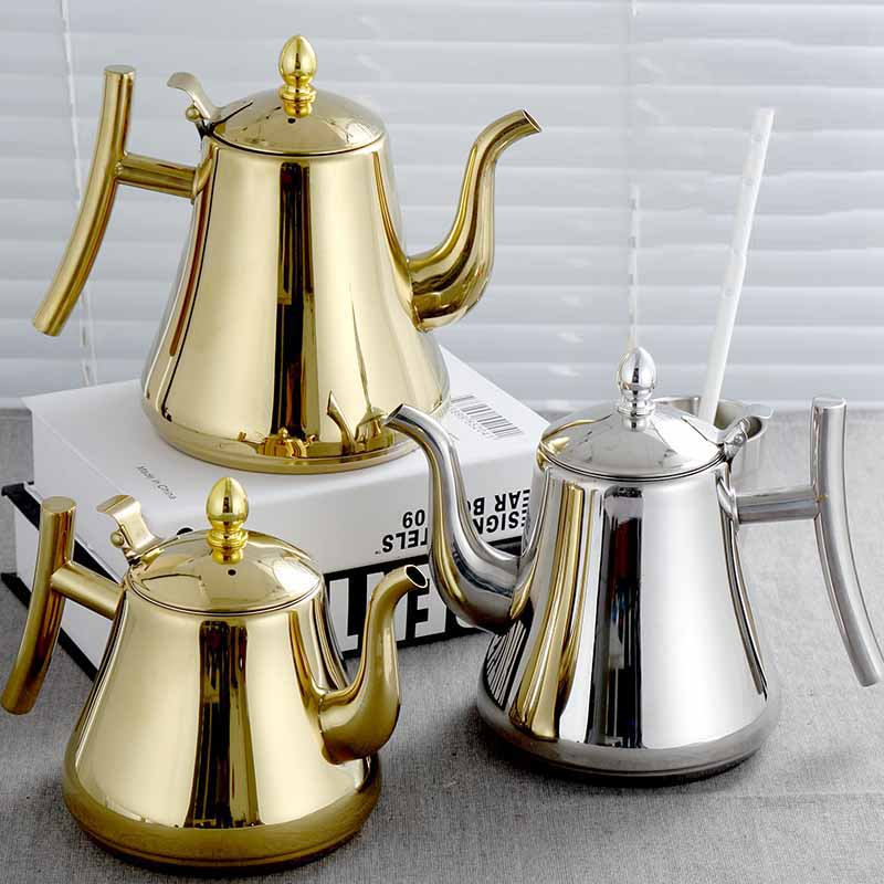 Stainless steel teapot with filter Hotel Restaurant Hotel Home Induction Cooker Long mouth large capacity teapot