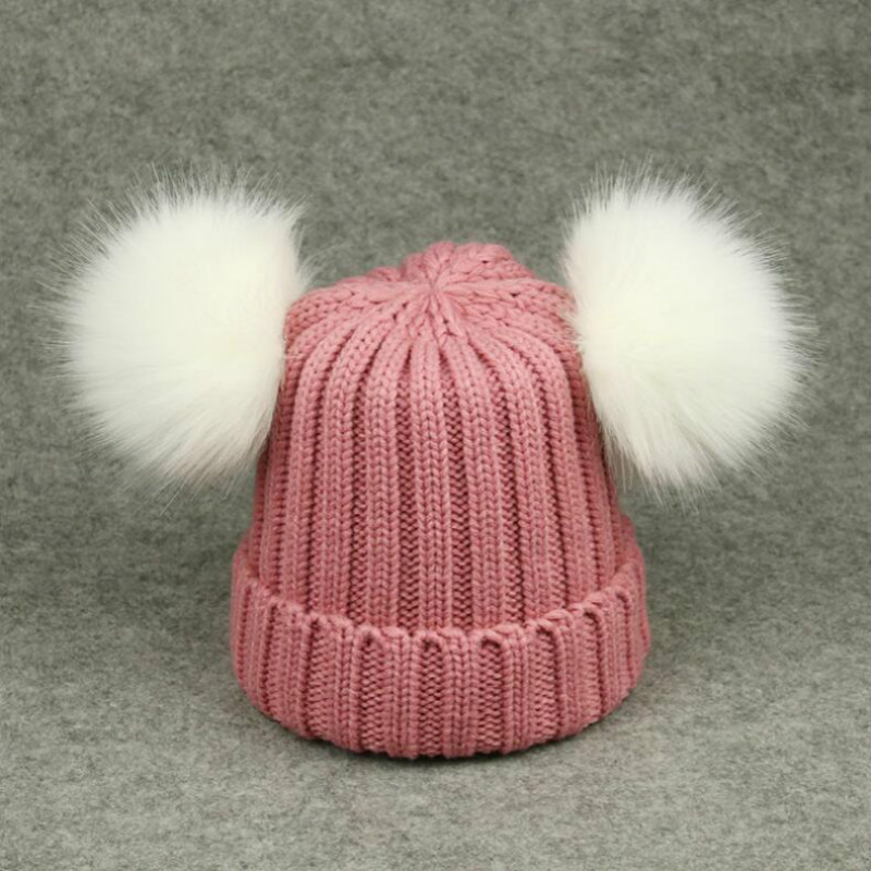b1f584516 family size girl winter hat with two faux fox fur pompom top casual ...
