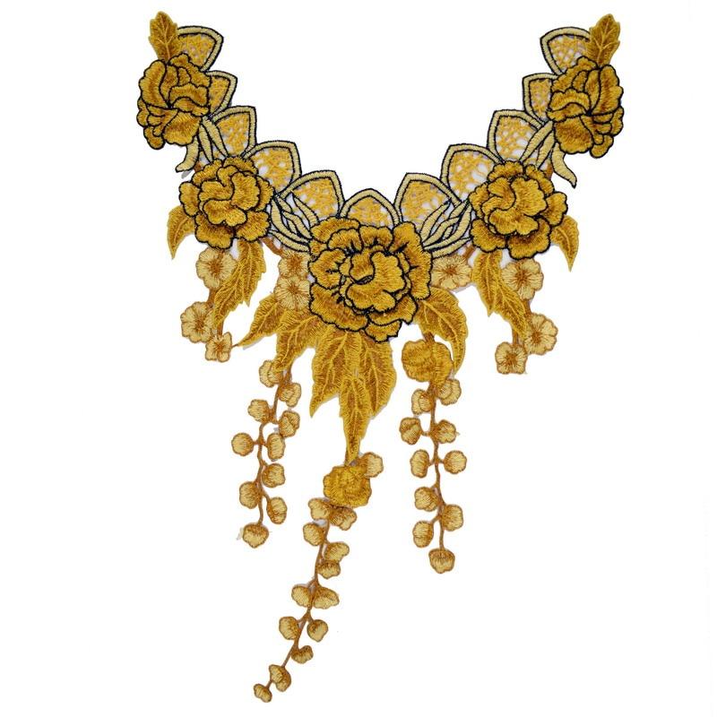 e25ce28097 ... Yellow Lace Neckline Collar Embroidered Trim Applique Embellishments  Vintage Trims Wedding Dress Accessories Scrapbooking ...