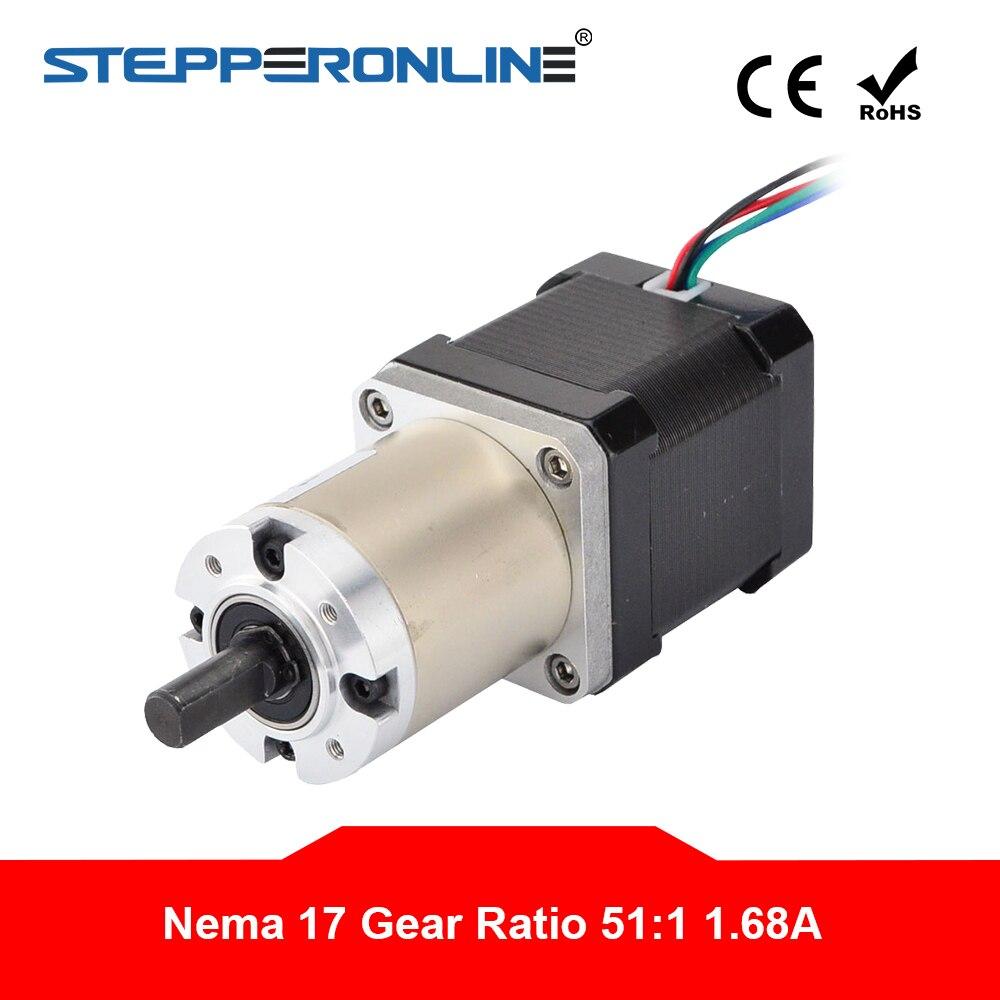 51 1 Planetary Gearbox High Torque Nema 17 Stepper 1 68A DIY CNC Router Robot 3D