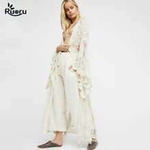 Ruoru Kimono Boho Summer Holiday Beach Cover Lace Tops Bell Sleeve Hollow Out Kimono Long See Though White Kimono Jacket embroidered hollow out batwing kimono