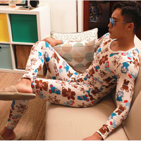 New AIBC men's long johns set cotton legging autumn and winter thermal underwear printed Long Johns set