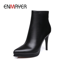 ENMAYER New Fashion 2018 women solid pointed toe platform high heel ankle boots lady thin ZYL747