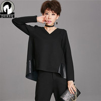 Autumn Winter Women T Shirt Black Leather Stitching Fashion Long Sleeve T Shirt Tops Lady Boat