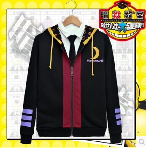 New the compensation homeroom teacher Korosensei Cosplay ghost Costume jacket 100 cotton font b hoodie b