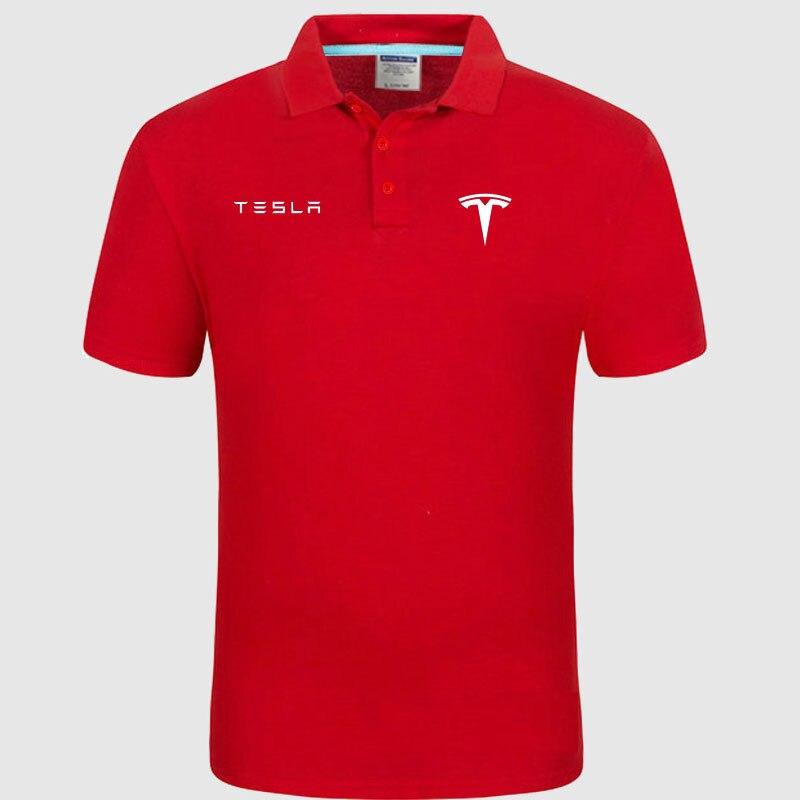 High quality logo crocodil Tesla logo   Polo   classic brand Men   Polo   Shirt Men Casual solid Short Sleeve cotton   polos