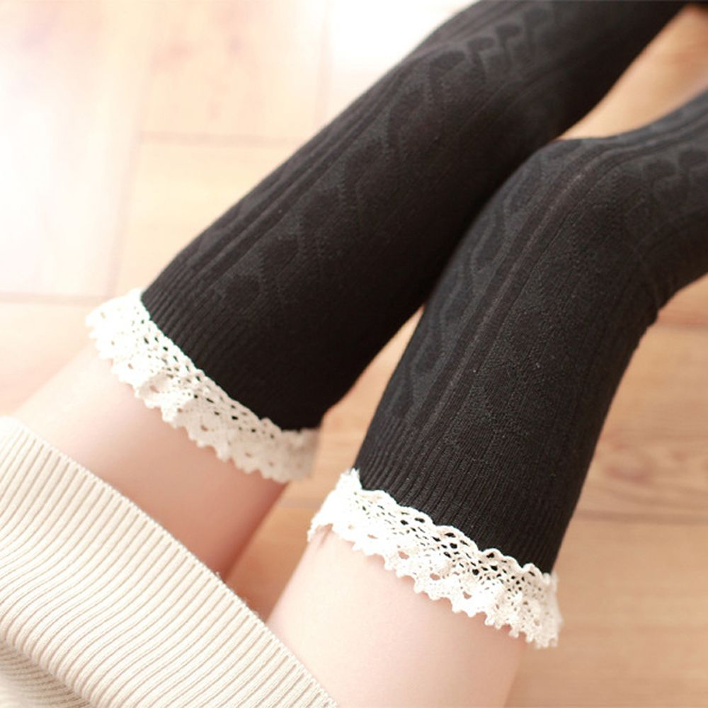 New Fashion Candy Colors Striped Thigh High Stockings Women Lace Sexy Cotton Stocking Autumn Spring Knee Socks Over The Knee