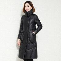 2018 New real leather jacket,Elegant leather down coat sheepskin coat women genuine leather coats plus size leather coat LSW897