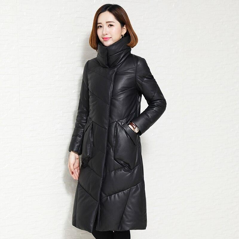 2018 Nouvelle réel veste en cuir, élégant en cuir vers le bas manteau manteau en peau de mouton femmes en cuir véritable manteaux plus la taille en cuir manteau LSW897