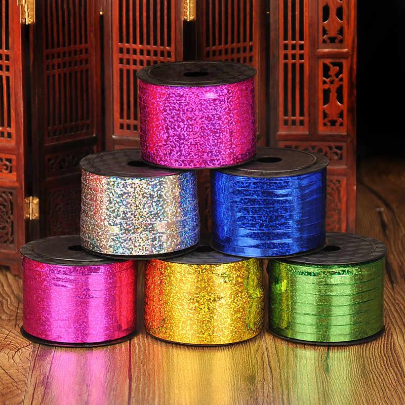 Balon Pita Laser Pita untuk Dekorasi Pesta Ulang Tahun Hadiah DIY Packing Pernikahan Dekorasi Foil Pita Satin Aksesoris