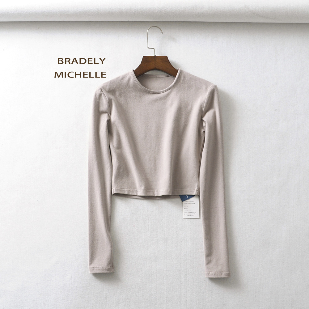 HTB1m3yHXsfrK1RjSszcq6xGGFXaA - BRADELY MICHELLE crop tops for women Sexy female o-neck long-sleeve solid t shirt