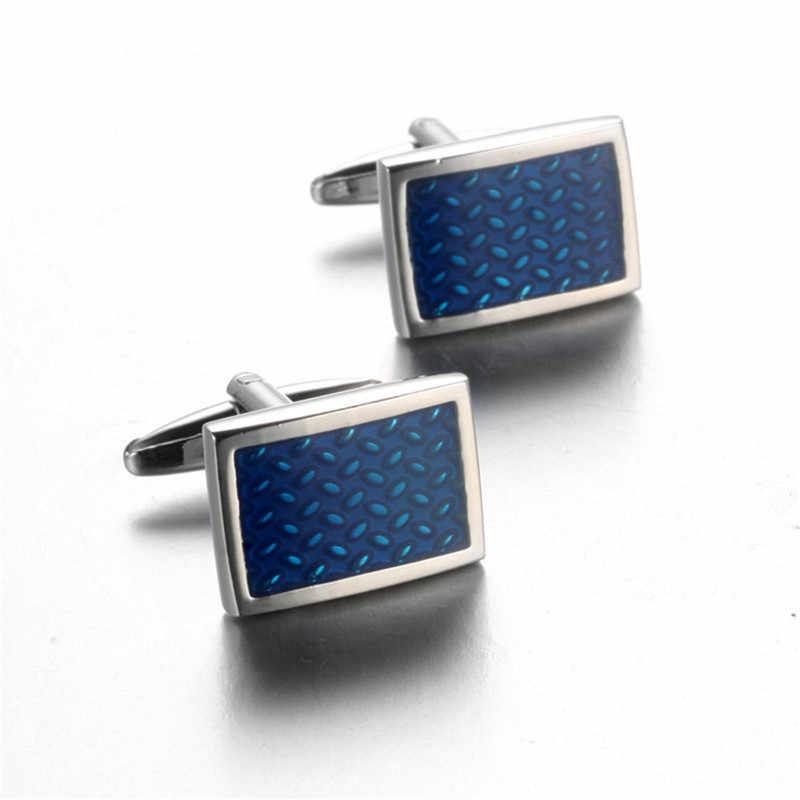 Julie Wang 1 Pair High-end Watch Cufflinks Real Clock Blue Square links Cufflings French Cuff links Nail Sleeve Button for Men