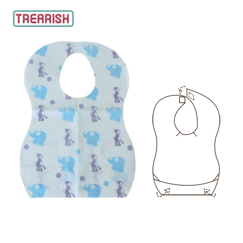 Waterproof Disposable Bibs Printing Feeding Children Baby 10pcs Non-woven Baby Bib Easy to Carry TREARISH