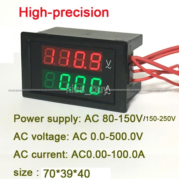 LED Dual display digital AC 500 v Voltímetro Amperímetro 0-100A Digital Combo Medidor AC 220 V 110 v 380 v Tensão corrente + transformador ct