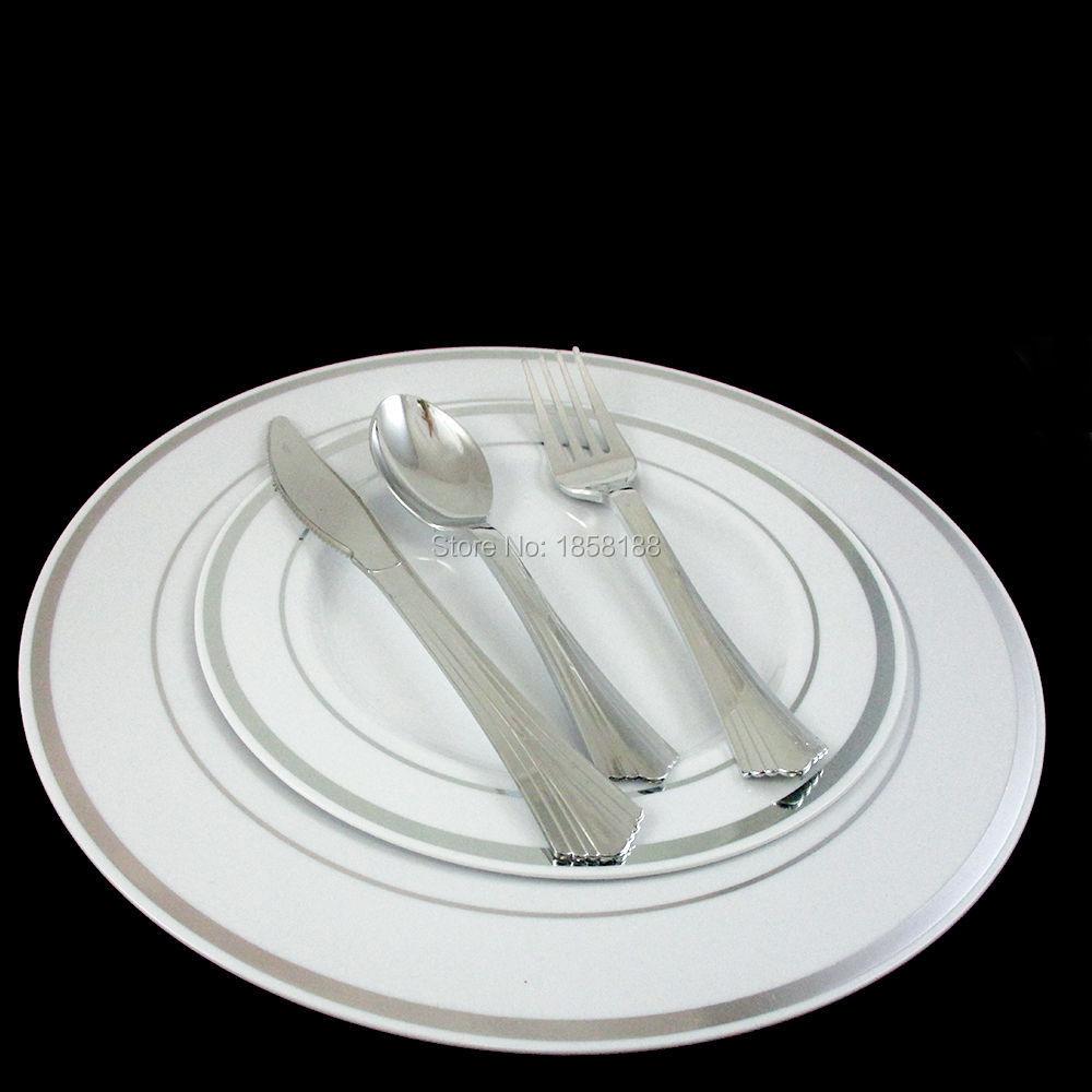 36People Dinner Wedding Tableware Disposable Plastic Plates ...