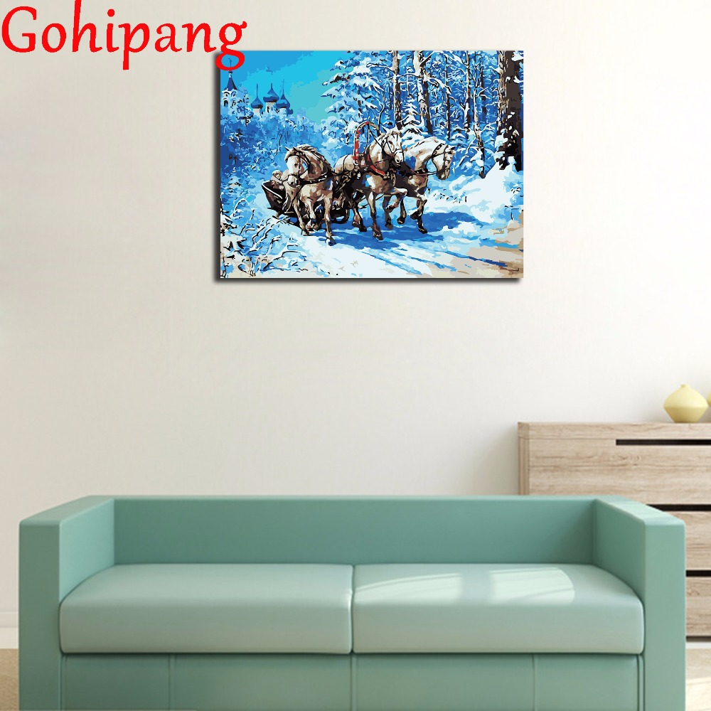 Frameless diy paintings by numbers Snow running horses decorative pictures unique craft picture for living room home decor