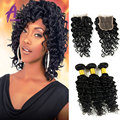 Brazilian Deep Wave Bundle Deals Brazilian Virgin Hair With Lace Closure Free/Middle/Three Part Lace Closure For Your Choice