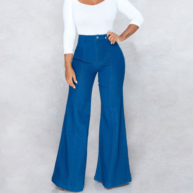 9d725f7655 Moda azul Jeans para mujeres Vintage pantalones Long Flare Jeans de aumento  de ancho de la