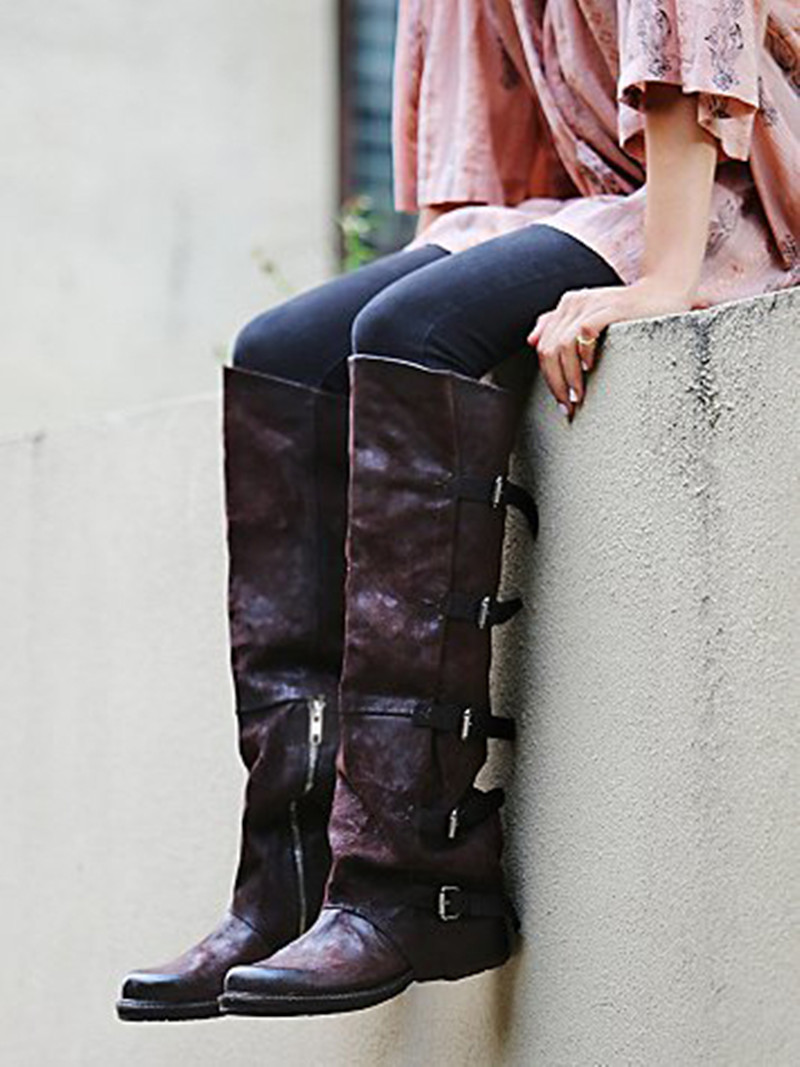 Femmes Bottes Sangles Boucle Pic Chaude En Dames Carré Pic as Hiver Véritable Tendance Haute As Mujer Genou 2017 Cuir Bota Talon Usure Plat Botines xqX4wYIxz
