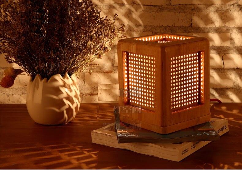 Modern Table Lamp Wooden Desk Lamp Book Night Light E27 Lamp Base LED Japanese Wood Table