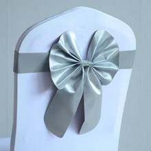 Серебристо-серые ленты для свадебных стульев ленты из спандекса на стулья лайкра стрейч-лента галстук-бабочка вечерние украшения отеля шоу