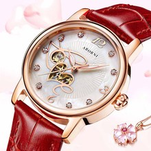 ABORNI Vintage Gold Women Mechanical Watch Diamand Bracelet Lady Lover Girl Wristwatch Skeleton Female Clock Relogio Feminino