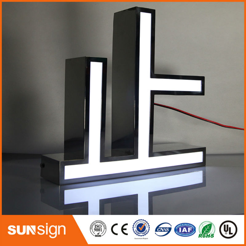 Shanghai Sign Making Wholesale Super Quality Mirror Polished Stainless Steel Led Sign Letters