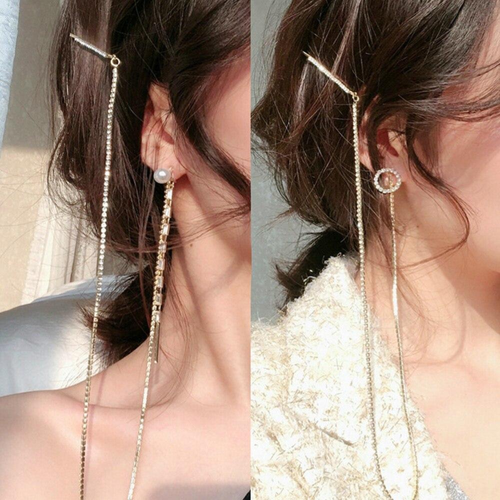 2019 New fashion Silver Plated Pearl Dangle Hanging Gem Stone Rhinestone Long Drop Earrings For Women Tassel Jewelry kolczyki in Drop Earrings from Jewelry Accessories