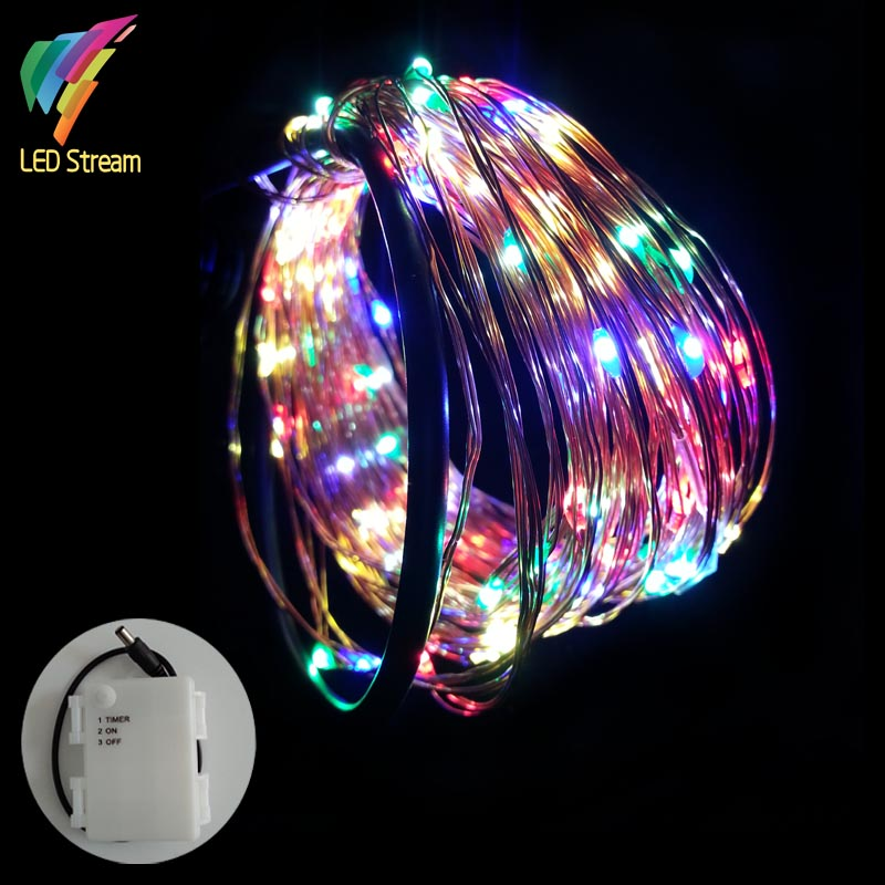 Rgb String Fairy Light 33ft 10m Aa Battery Powered Waterproof Timer 100 Led Copper Wire Outdoor