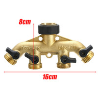 Brass Garden Hose Pipe Splitter 4 Way Tap Connectors 3 4 Hose Pipe Connector For Garden