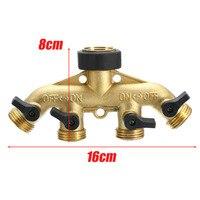 Brass Garden Hose Pipe Splitter 4 Way Tap Connectors 3 4 Hose Pipe Connector For Garden