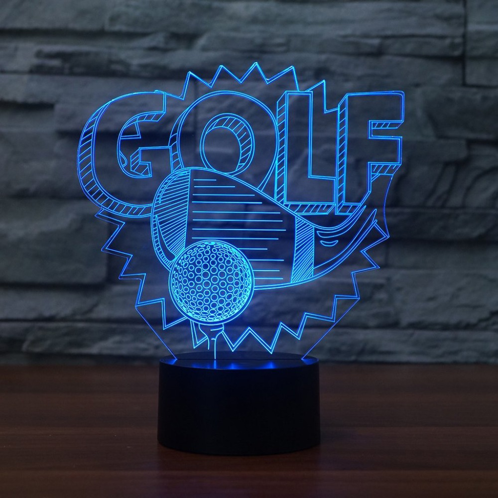 3D Visual Led Golf Enthusiast Gifts NightLight 7 Color Change Golf Lighting Fixture Modelling Baby Bedside Sleep Decor Desk Lamp