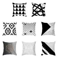 1Pcs Nordic Black White Geometric Style Pillowcases Peach-skin Velvet Printed Pillow Case Striped Pillowcase