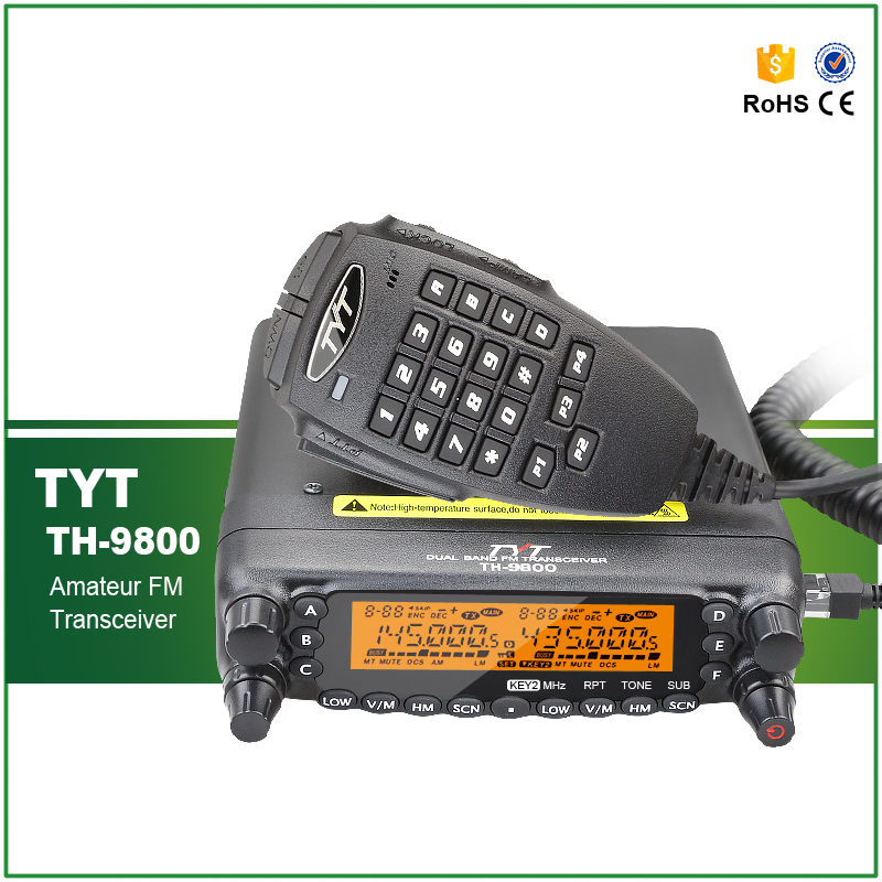Car Radio TYT TH-9800 VHF 50W UHF 35W 800CH Quad Band Transceiver Cross-band Dual Display Screen Scrambler Repeater With Cable