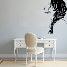 Fun long hair woman Family Wall Stickers Mural Art Home Decor Kids Room Nature Pvc Decals Living