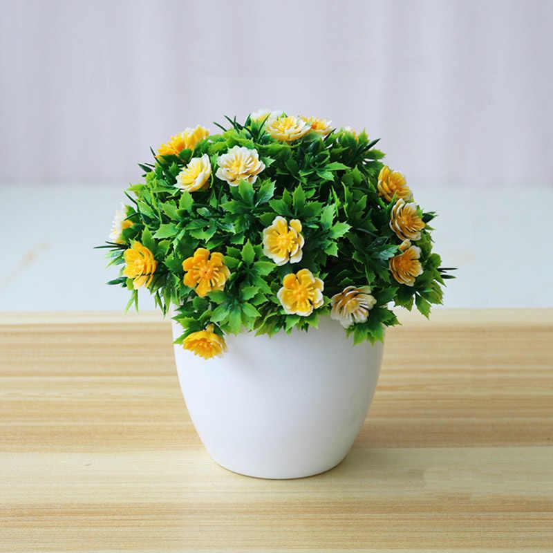 Buatan Bunga Pot Desktop Tanaman Palsu Bonsai Plastik Palsu Bunga Pot Tanaman Taman Rumah Dekorasi Perlengkapan AEL005