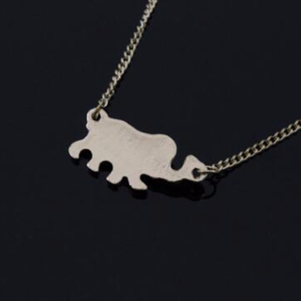 New Fashion Jewelry Cute Elephant Pendant Necklaces Alloy Chain Maxi Necklace For Women Girls Accessories Gold Silver Color in Pendant Necklaces from Jewelry Accessories