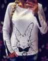 2017 Осень зима Женская мода уличная Повседневная Толстовка флис Кролик с капюшоном Печати Толстовки Пуловер На Молнии топы зима