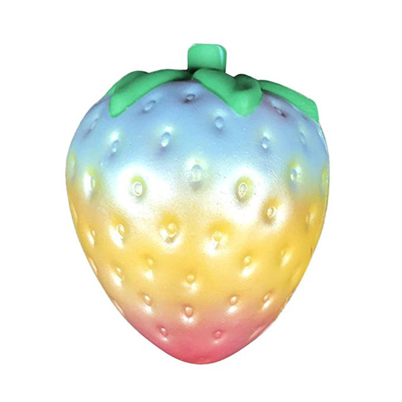 New Kawaii Rainbow Strawberry Squishy Slow Rising 10CM Jumbo Cute Scented Colorful Bread Cake Kid Fun Toy Phone Straps