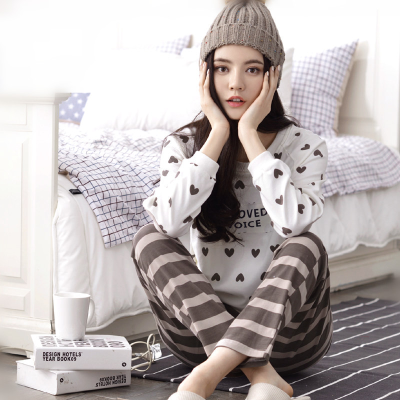 Spring, summer, pregnant women took cotton long sleeve pajamas postpartum confined out nursing cotton leisurewear suit all thin