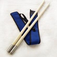 Wushu bastão de sobrancelha, vara de combinação de aço inoxidável, bastão de costura, pequena emergência, barra branca longa, duas varas