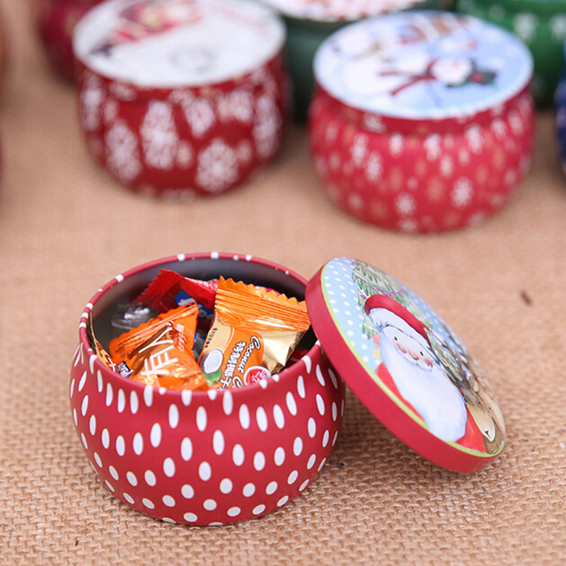 Cartoon Christmas Candy Box Cookies Packaging Boxes Iron Storage Cans Coin Jewelry Sealed Jar Home Party Supplies Random