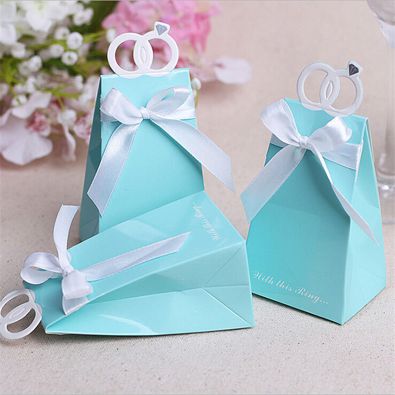 Free Shipping 50pcs Blue Diamond Ring Wedding Favor Boxes Wedding